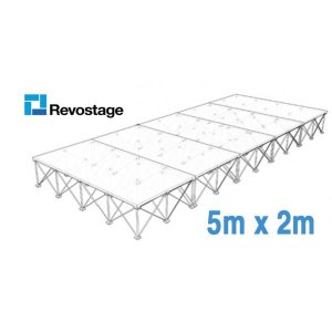 Revostage Complete Portable Stage 5 x 2 m, Height 40 cm, Grey Carpet Finished